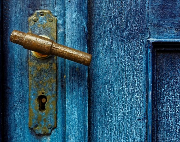 Antique handle on blue door